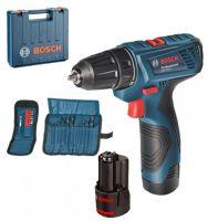 Ударный шуруповерт Bosch GSR 120-LI + 2 набора сверл и бит
